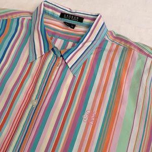 Lauren Ralph Lauren Striped Long Sleeve Button Up